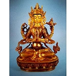 Chenrezig Four-Arm Gold Plated Statue 8 Inch