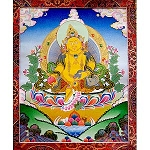 Dzambhala Thangka Medium - High Quality Brocade