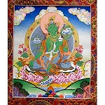 Green Tara Thangka Medium Plus- High Quality Brocade