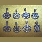 Silver Eight Auspicious Symbols Pendant - Carved