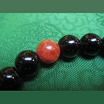 Onyx Wrist Mala with Red Jasper Bead