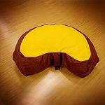 Zafu Meditation Cushion - Half Moon Maroon with Yellow
