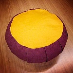 Zafu Meditation Cushion - Full Round Maroon with Yellow