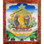 Manjushri Thangka Medium - High Quality Brocade