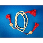 Bone Mala Red Tassel - Small Bead