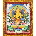 Dzambhala Thangka Medium Plus - High Quality Brocade