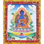 Medicine Buddha Thangka Medium Plus- High Quality Brocade