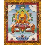 Shakyamuni Buddha Thangka Medium Plus - High Quality Brocade