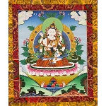 Vajrasattva with Consort Thangka Medium Plus- High Quality Brocade