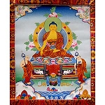 Shakyamuni Buddha Thangka Medium Plus- High Quality Brocade