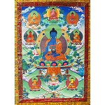 Seven Medicine Buddha Thangka Large- High Quality Brocade