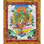 Green Tara Thangka Medium - High Quality Brocade