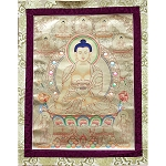 Shakyamuni Buddha Golden Thangka Large – High Quality Brocade