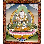 Vajrasattva with Consort Thangka Medium - High Quality Brocade