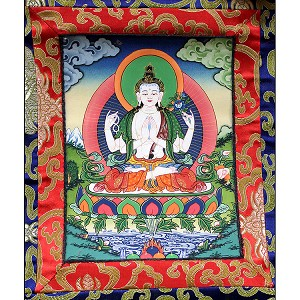 Chenrezig 4 Arm Thangka XS