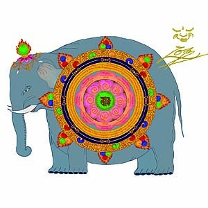 Wheel of the Meritorious Elephant Generating Power  - Downloadable PDF Poster