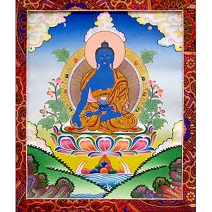 Medicine Buddha Thangka Medium - High Quality Brocade