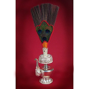 Bumpa Vase - Silver Plated with Peacock Wand
