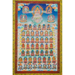 The 35 Buddhas Thangka Large- High Quality Brocade