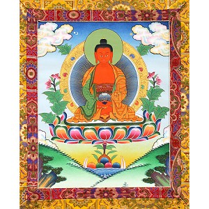 Amitabha Buddha Thangka Medium Plus- High Quality Brocade