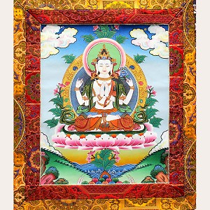Chenrezig 4 Arm Thangka Medium Plus- High Quality Brocade
