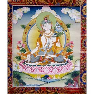 White Tara Thangka Medium  - High Quality Brocade