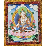 White Tara Thangka Medium Plus  - High Quality Brocade