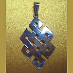 Silver Endless Knot Pendant - Vertical