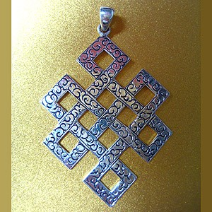 Silver Engraved Endless Knot Pendant