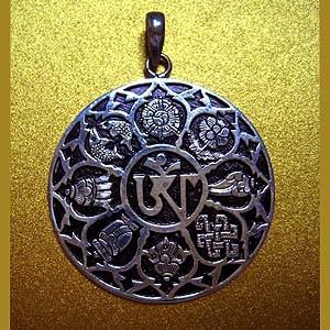 Silver om pendant with eight auspicious symbols aloadofball Images