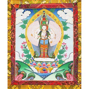 Chenrezig 1000 Arm Thangka Medium Plus - High Quality Brocade